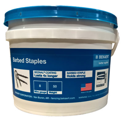 "1 3/4"" Double Barbed Staples (50lb bucket)"